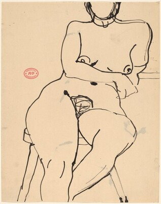 Untitled [nude seated on a stool and leaning on her left arm]