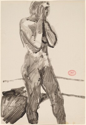 Untitled [standing nude with her hands in front of her face]