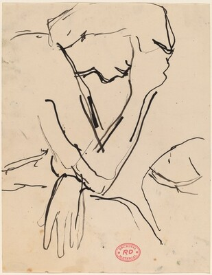 Untitled [figure leaning head in hand]