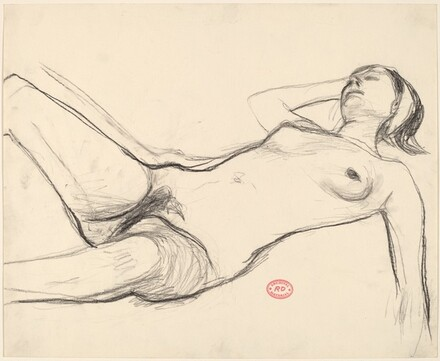 Untitled [reclining nude wearing a headband]