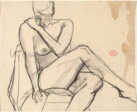 Untitled [seated nude crossing her legs and looking down]