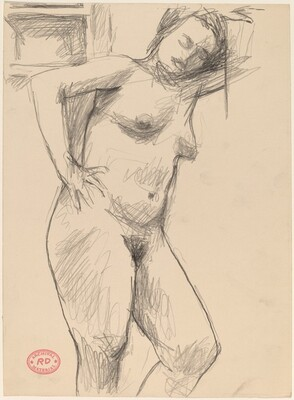 Untitled [standing female nude leaning against wall]