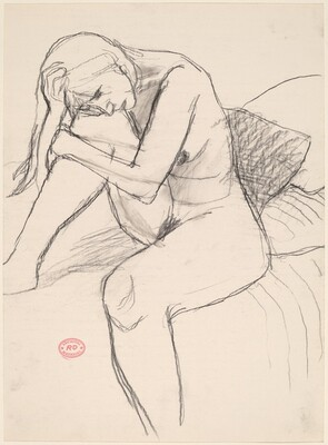 Untitled [female nude seated on a bed]