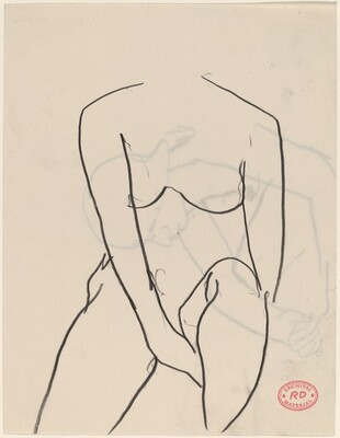 Untitled [seated female nude holding her left thigh] [recto]