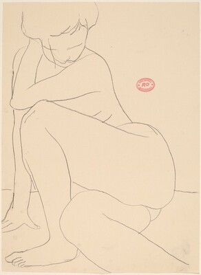 Untitled [seated nude pulling back]
