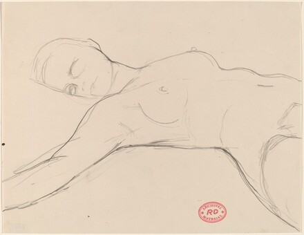 Untitled [reclining female nude with right arm outstretched]