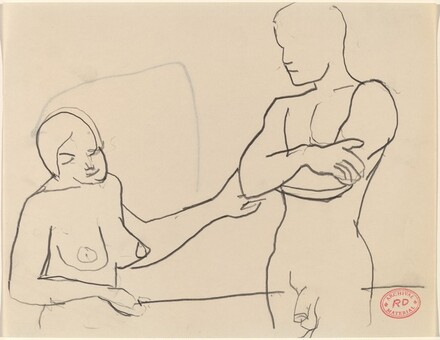 Untitled [female nude reaching for elbow of male nude]