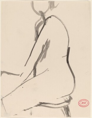 Untitled [side view of kneeling nude]
