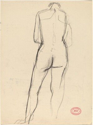 Untitled [back view of standing nude looking down]