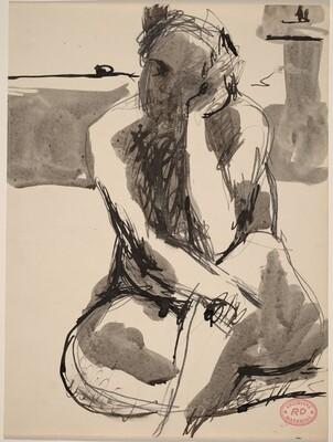 Untitled [nude seated on studio floor]