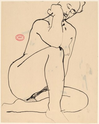 Untitled [seated nude resting her elbow on her knee]