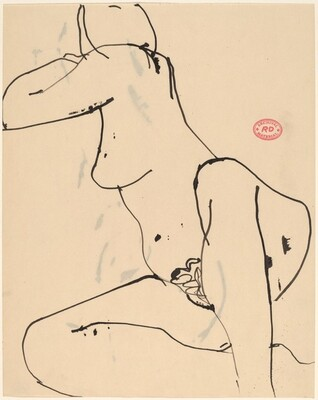 Untitled [seated female nude turning away]