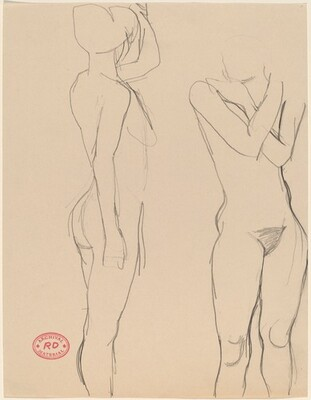 Untitled [two views of a standing female nude]