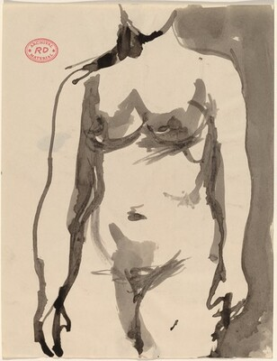 Untitled [front view of standing female nude with arms to side]