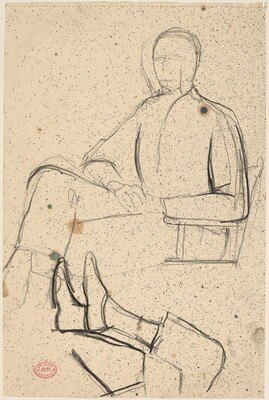 Untitled [two studies: seated man and feet]