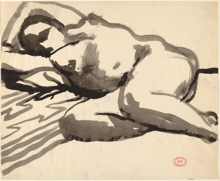 Untitled [reclining female nude with arms behind head]