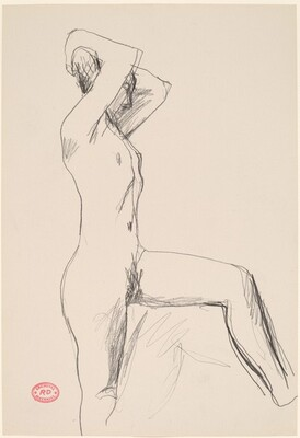 Untitled [standing female nude with arms behind head]
