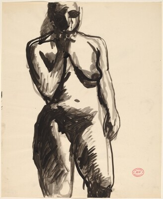 Untitled [standing female nude with right hand raised to chin]