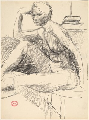 Untitled [seated female model with right arm on knee]