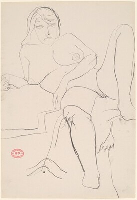 Untitled [reclining female nude resting on right arm]