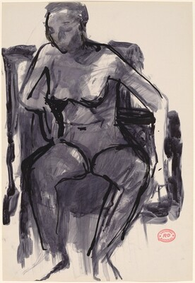 Untitled [female nude seated in armchair]