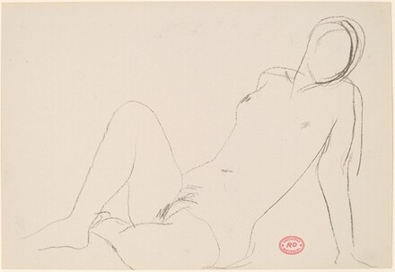 Untitled [seated nude leaning on arm]