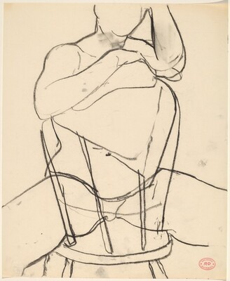 Untitled [seated nude with arms resting on chair back]