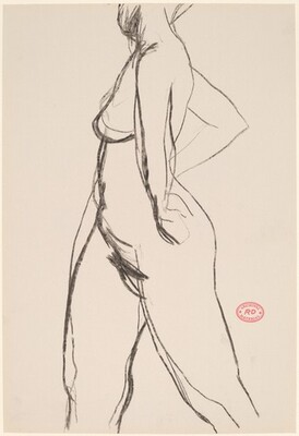 Untitled [side view of nude with her arms akimbo]