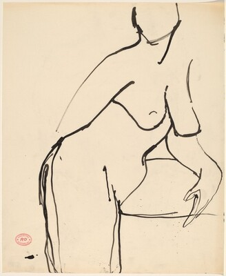 Untitled [standing nude leaning on her elevated left leg]