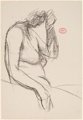 Untitled [female nude with left hand to temple]
