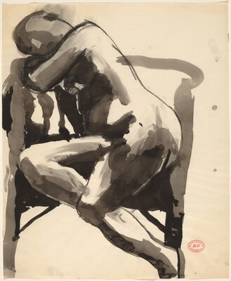 Untitled [seated female nude leaning into a chair]