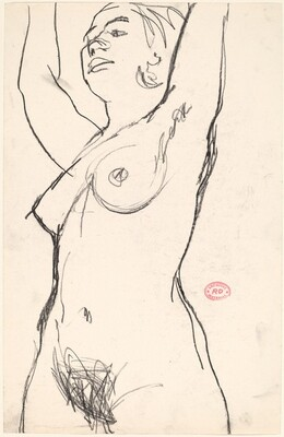 Untitled [standing female nude with raised arms]