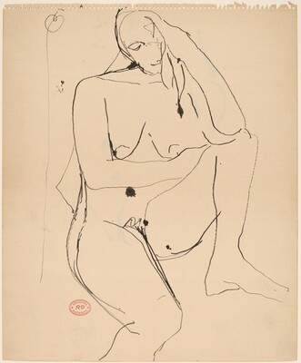 Untitled [seated female nude with head in left hand]