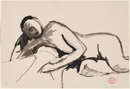 Untitled [reclining nude resting on right arm]