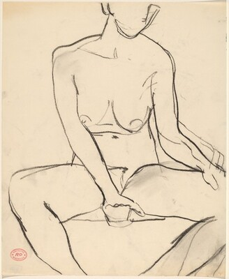 Untitled [seated female nude]