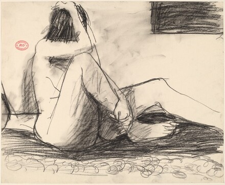 Untitled [seated female nude grasping head and leg]