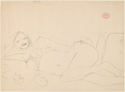 Untitled [reclining woman resting on right arm]