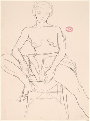 Untitled [shirtless model on a stool]