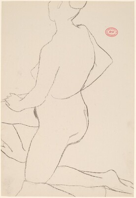Untitled [kneeling female nude: side view]