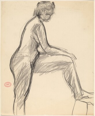 Untitled [female nude in profile with left leg raised]