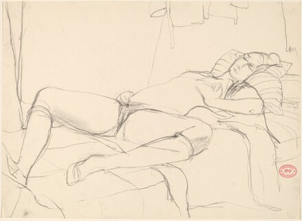 Untitled [female nude reclining on a bed]