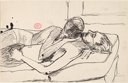 Untitled [man and woman embracing on a bed]