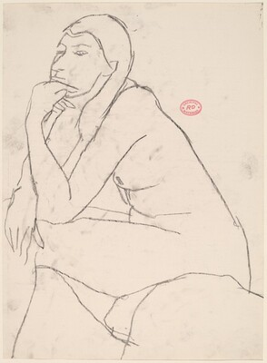 Untitled [seated female nude resting chin on left hand]
