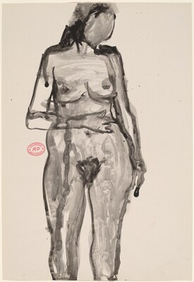 Untitled [standing female nude with right hand on belly]