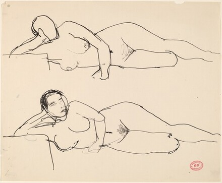 Untitled [two studies of a reclining female nude resting on right arm]