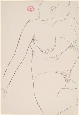 Untitled [seated female nude leaning on right arm and looking right]