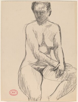 Untitled [nude seated and resting her hands on her left thigh]