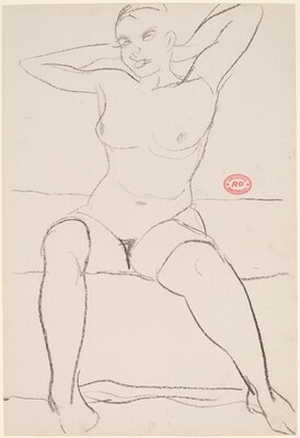 Untitled [seated female nude with hands behind head]