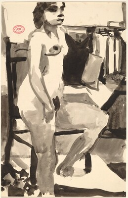 Untitled [female nude posing in studio]