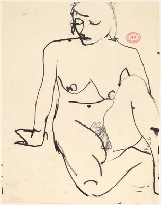 Untitled [seated female nude resting on right arm]
